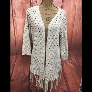 Freshman size xl cream open cardigan sweater